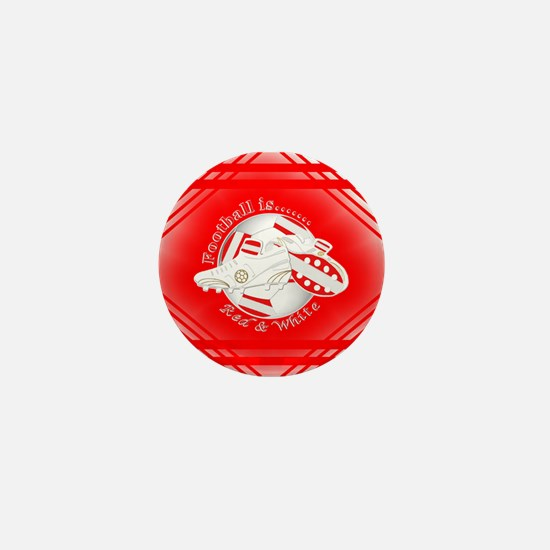 Red and White Football Soccer Mini Button