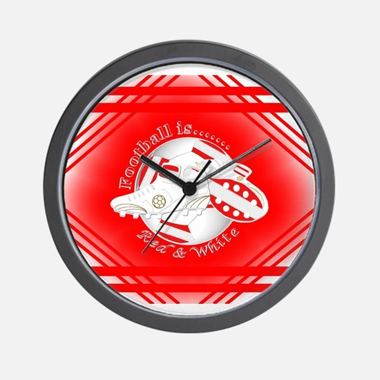 Red and White Football Soccer Wall Clock