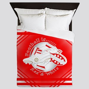 Red And White Football Soccer Queen Duvet