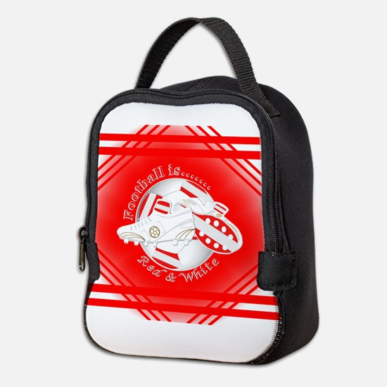 Red and White Football Soccer Neoprene Lunch Bag