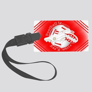 Red and White Football Soccer Luggage Tag