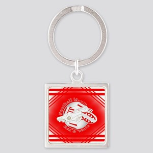 Red and White Football Soccer Keychains