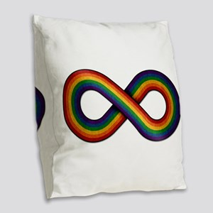 Rainbow Infinity Burlap Throw Pillow