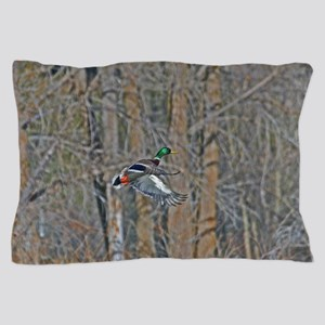 Drake mallard in flight Pillow Case