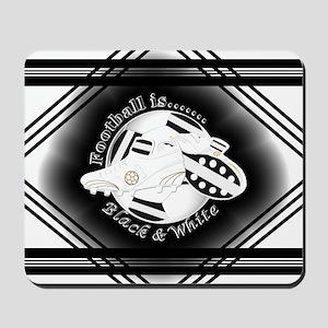 Black and White Football Soccer Mousepad