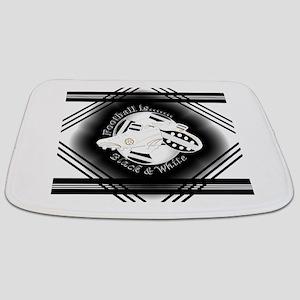 Black and White Football Soccer Bathmat