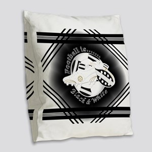 Black and White Football Soccer Burlap Throw Pillo