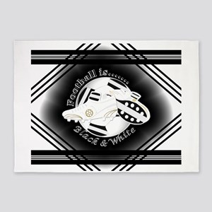 Black and White Football Soccer 5'x7'Area Rug