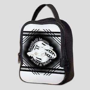 Black and White Football Soccer Neoprene Lunch Bag