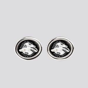 Black and White Football Soccer Oval Cufflinks