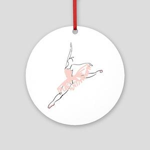 Pretty Pink Ballerina Round Ornament