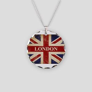 London - Union Jack Necklace Circle Charm