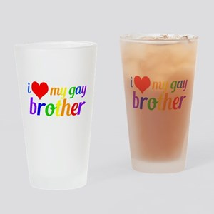 Gay Brother Rainbow Drinking Glass