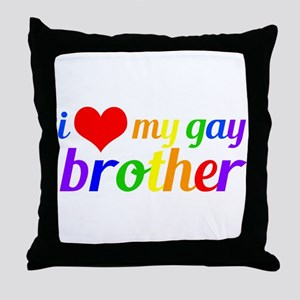 Gay Brother Rainbow Throw Pillow