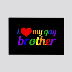 Gay Brother Rainbow Rectangle Magnet