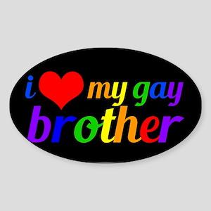Gay Brother Rainbow Sticker (Oval)