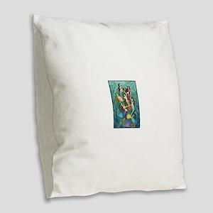 Pretty Mermaid Princesses Burlap Throw Pillow