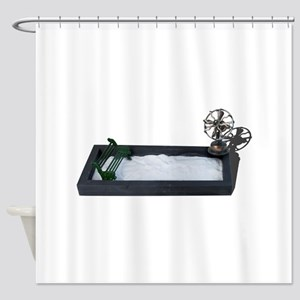 Bench in Snow with Fan Shower Curtain