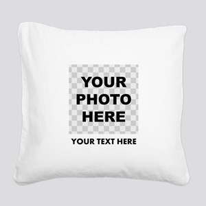 Your Photo And Text Square Canvas Pillow