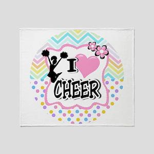 I Love Cheer Throw Blanket
