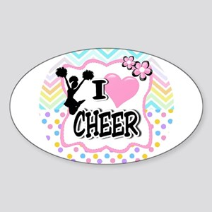 I Love Cheer Sticker (Oval)