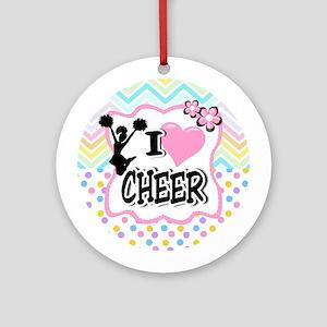 I Love Cheer Round Ornament