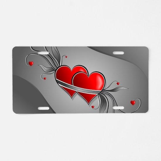 Double Hearts Aluminum License Plate