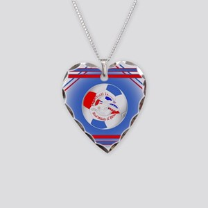 Red White and Blue Soccer Necklace Heart Charm