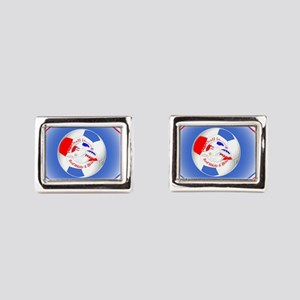 Red White and Blue Soccer Rectangular Cufflinks