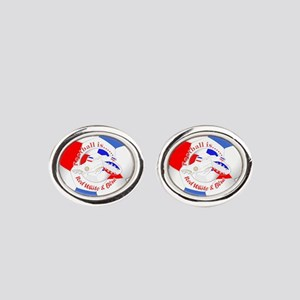 Red White and Blue Soccer Oval Cufflinks