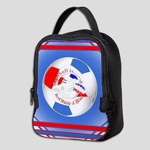 Red White and Blue Soccer Neoprene Lunch Bag