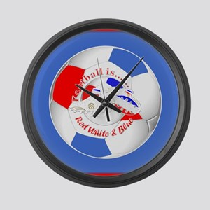 Red White and Blue Soccer Large Wall Clock