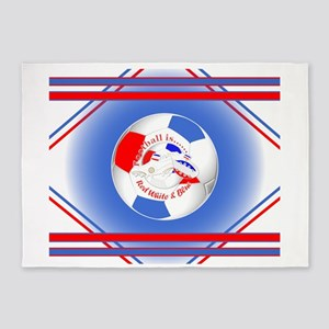Red White and Blue Soccer 5'x7'Area Rug