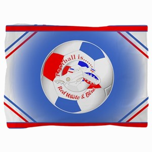 Red White and Blue Soccer Pillow Sham
