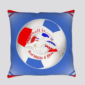 Red White and Blue Soccer Everyday Pillow