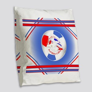 Red White and Blue Soccer Burlap Throw Pillow