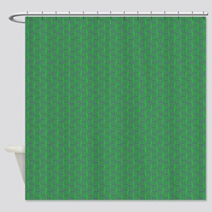 Green Purple Lines Grid Shower Curtain