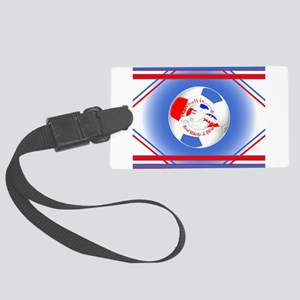 Red White and Blue Soccer Large Luggage Tag