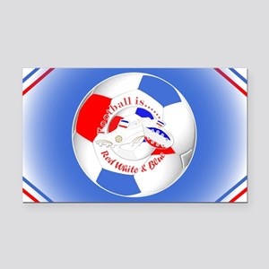 Red White and Blue Soccer Rectangle Car Magnet