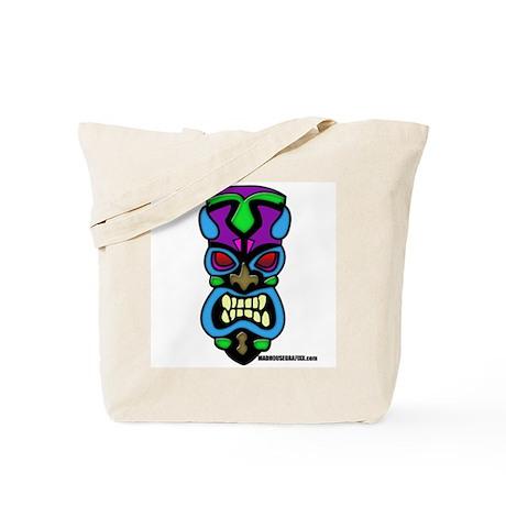 Teal Tiki Mask Tote Bag
