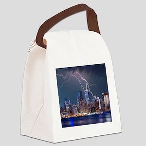 Lightning over New York City Canvas Lunch Bag