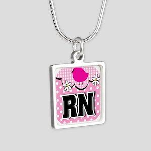 Nurse RN Birdie Silver Square Necklace