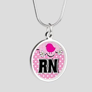 Nurse RN Birdie Silver Round Necklace