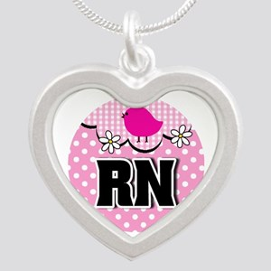 Nurse RN Birdie Silver Heart Necklace