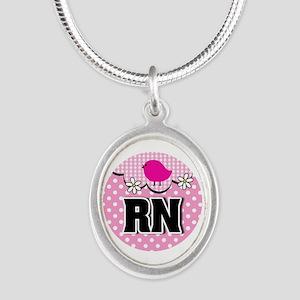 Nurse RN Birdie Silver Oval Necklace
