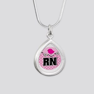 Nurse RN Birdie Silver Teardrop Necklace