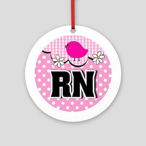Nurse RN Birdie Round Ornament