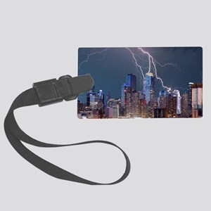Lightning over New York City Large Luggage Tag