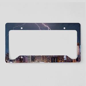 Lightning over New York City License Plate Holder
