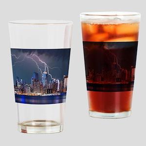 Lightning over New York City Drinking Glass
